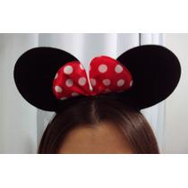 Headband Tiara Minnie Com Laço Vermelho