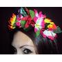 Tiara De Flores Coloridas Lírios Para Fantasia De Havaiana