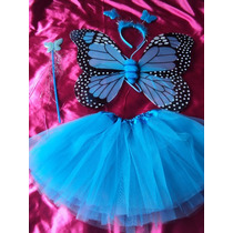 Fantasia Borboleta Azul E Preto 4 Pesas Asa,tiara,vara,saia.