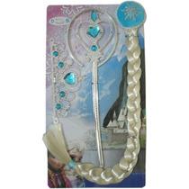 Kit Acessórios Frozen Elsa Varinha, Coroa E Trança