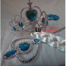 Kit Completo Frozen Elsa C/ Trança Coroa E Varinha Fantasia