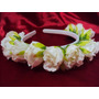 Tiara De Flores Rosas Brancas Médias Luxo Fotos Casamento