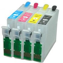 Kit Cartuchos Recarregáveis Epson Xp204 Xp401 + Tinta 400 Ml