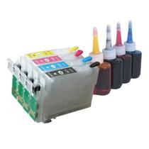 Kit 4 Cartucho Xp204 Recarregável + 120ml De Tintas