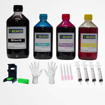 Kit Tinta Recarga Cartuchos 1250ml Impressora Hp + Snap Fill