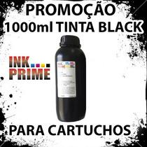 1 Litros Tinta Black Recarga Cartucho Hp Lexmark Canon