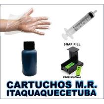 Kit Recarga Cartucho +snap Fill + 100 Ml Tinta Preta Hp 122