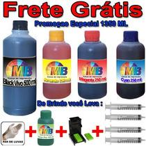 1350ml Kit Tinta Recarga Cartuchos Impressora Hp + Snap Fill