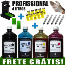 4000ml Kit Tinta Recarga Cartuchos Impressora Hp + Snap Fill