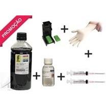 1250ml Tinta Preta Recarga Cartuchos Impressora Hp + Kit
