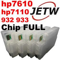 Kit Cartucho Recarregável Hp 932 933 7610 7110 Chip Ful Bulk