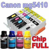 Cartucho Recarregável Canon Mg5410 Ip7210 Chip Full + Tinta