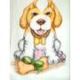Toalha De Banho E Rosto Pintura À Mão Cachorro/flores Linda