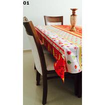 Toalha De Mesa Natalina 145x220 Para Mesa Com 6 Cadeiras