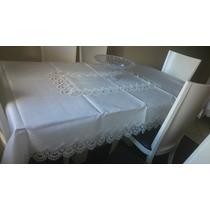 Toalha De Mesa Renda Guipir Jantar Mesa P/ 6 Cadeiras