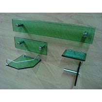 Kit Banheiro 5 Peças Vidro De 10mm Lapidado Verde