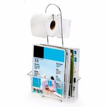 Porta Papel Higiênico P/ 2 Rolos Com Revisteiro De Chão Aço