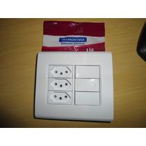 Conj. Tramontina 4x4 3-interruptores E 3 Tomadas 10a