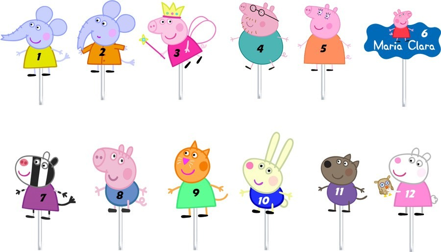 topper / toppers peppa pig para doces, salgadinhos, cupcakes
