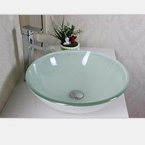 Pia Cuba Vidro 42x42 Branca Banheiro Com Ralo Click