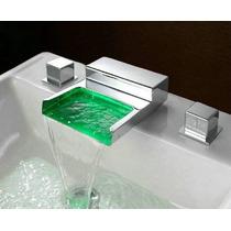 Torneira P/ Banheiro De Metal Cascata Led Com Duplo Comando