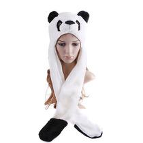 Touca Gorro Bichinho Pelúcia C/ Cachecol Cosplay Urso Panda