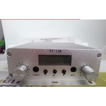 Transmissor Fm Pll 15 W Stereo Digital Profissional 5-10 Km
