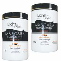 Kit 2 Mascara Tratamento Hidratacao Mandioca 1kg Light Hair