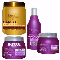 Banho De Verniz Hidratação +kit Matizador Blond Forever Liss