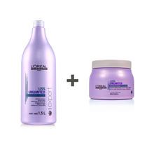 Kit Loreal Liss Unlimited Shampoo 1,5l + Mascara 500g
