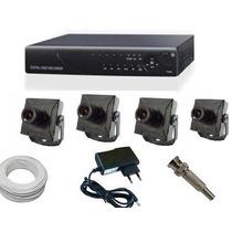 Kit Cftv Dvr Stand Alone 4 Canais + 4 Mini Camera + Dome