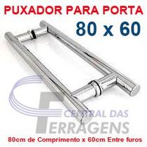 Puxador Tubular Aluminio 80cm X 60cm Para Porta De Vidro