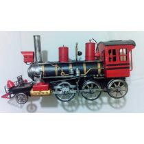 Locomotiva Maria Fumaça Retrô Miniatura Em Metal 39 Cm