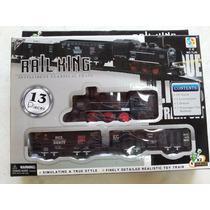 Trenzinho Elétrico 13 Pcs Rail King Ferrorama Altos Detalhes