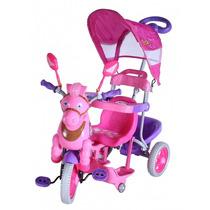 Carrinho Triciclo 3 Em 1 Capota Música Pedal Rosa Bel #9314