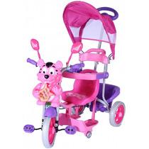 Carrinho Bebê Triciclo 3 Em 1 Capota Musical Rosa Bel #9324