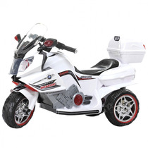 Super Moto Elétrica Infantil Branca Recarregável Menino