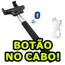 Kit Selfie Bastão + Sem Fio Apple Iphone Ipod Botão No Cabo