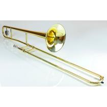 Trombone De Vara Tenor Dourado/prata Novo Com Garantia