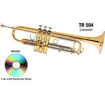 Trompete Eagle Laqueado Tr504 Em Sib + Case Luxo Sem Juros