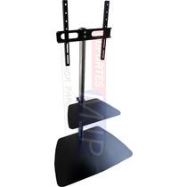Suporte Tv Pedestal 22 -52 Inox Com Prateleira Universal