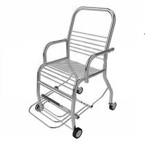 Cadeira P/banho C/rodas Total Em Aço Inox