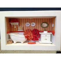Roombox De Banheiros Lindos Quadros Com Minuaturas De Banho