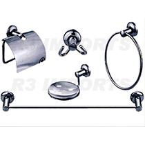 Kit 5 Peças Acessorios Para Banheiro Em Aço Inox
