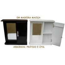 Armário Aéreo Com Espelho Para Banheiro Em Madeira Maciça