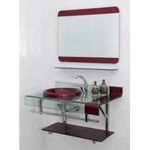 Armario Banheiro Chopin Frete Gratis Com Espelho Vinho Preto