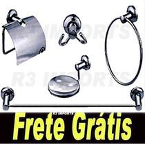 Kit 5 Peças Acessorios P/ Banheiro Em Aço Inox + Frete Gráts