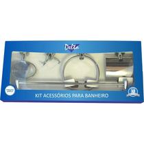 Kit Acessórios Para Banheiro 5 Peças Metal Cromado