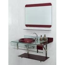 Cuba Vidro Pia Lavabo Gabinete + Espelheira Est Chopin Astra