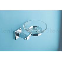 Porta Sabonete Metal Cromado Com Base De Vidro Acab Quadrado